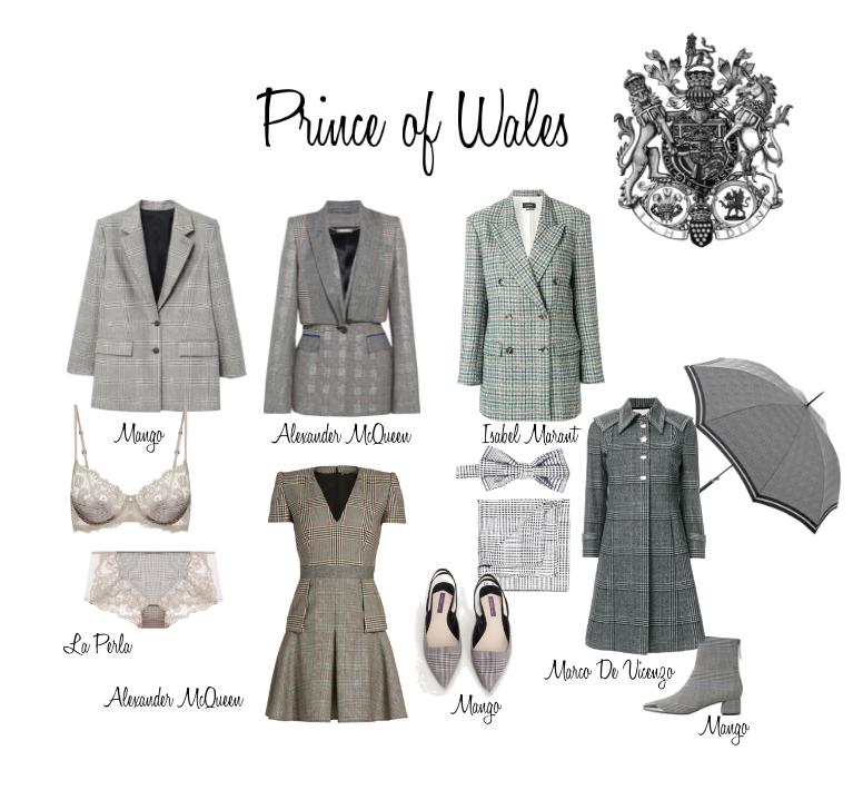 Príncipe de Gales es diseño de tejido formado por grandes cuadros con un diseño milrallas junto con cuadros más pequeños en pata de gallo. Apodado por el que sería el rey Eduardo VII de inglaterra y popularizado su nieto el duque de Windsor. Prince of Wales