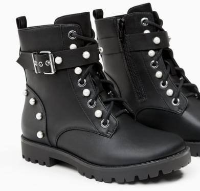 Zara pearl combat boots